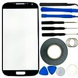 Samsung Galaxy S4 -Bildschirm Ersatz- Kit bestehend aus 1 Replacement Screen-Glas für Samsung Galaxy i9500 S4 / 1 Pinzette / 1 Rolle Klebeband von 2 mm / 1 Tool Kit / 1 ECO-FUSED Mikrofaser Reinigungstuch (schwarz) …