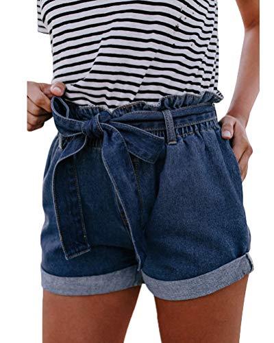 Orandesigne donna estate pantaloncini alta vita occasionale jeans pantaloncini di denim shorts a blu m