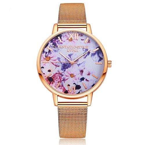 Souarts Damen Armbanduhr Einfach Mesh Metallarmband Blume Muster römische Ziffern Casual Analoge Quarz Uhr Rosa gold Farbe Farbe