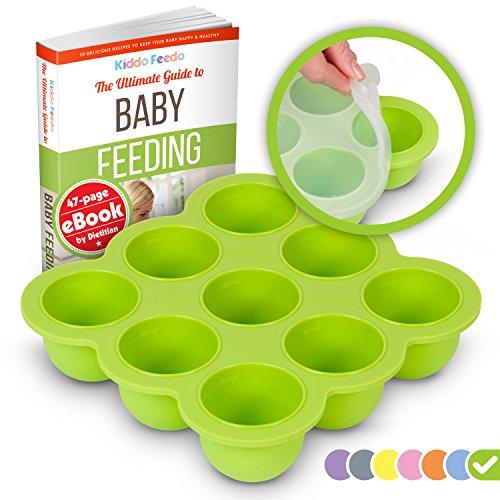 KIDDO FEEDO - Die multifunktionale Eiswürfelform mit Silikondeckel zum portionsweisen Einfrieren von Babynahrung, Kräutern, Saucen, Eiswürfeln usw. - BPA-frei - Gratis eBook - Lebenslange Garantie - Grün