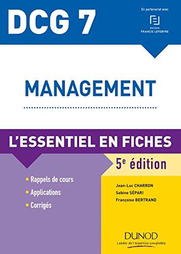 DCG 7 - Management - 5e ed : L'essentiel en fiches (DCG 7 - Management - DCG 7 t. 1)