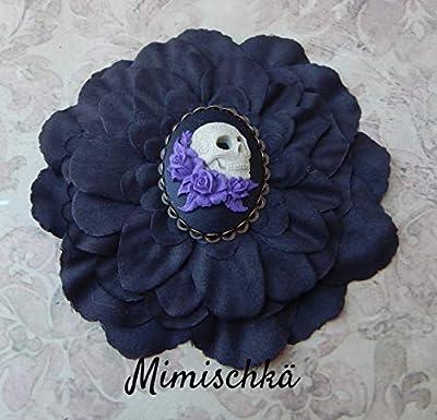 pince à cheveux fleur noire camée crâne mexicain hair clip black flower cameo sugar skull