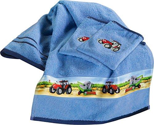 Kinderbutt Frottier-Set 3-tlg. - Handtuch Set - Frottiertuch - Waschlappen - Waschhandschuh - mit hochwertiger Stickerei - Traktor - 100% Baumwolle - Geschenkset