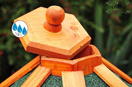 Vogelhaus XXL Premium, ca. 70-75 cm, wetterfest Massivdach, mit Silo / Futtersilo für Winterfütterung -Holz Nistkästen & Vogelhäuser- aus Holz BGX75grOS Holz ohne Ständer Vogel + Futterhaus GRÜN - 3