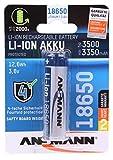 ANSMANN geschützter 18650 Akku Li-Ion mit 3500mAh & 3,6V - wiederaufladbare 18650 Batterie geschützt mit PCB Schutzschaltung - Akku 18650 für LED Taschenlampe Stirnlampe Laserpointer & E Zigarette