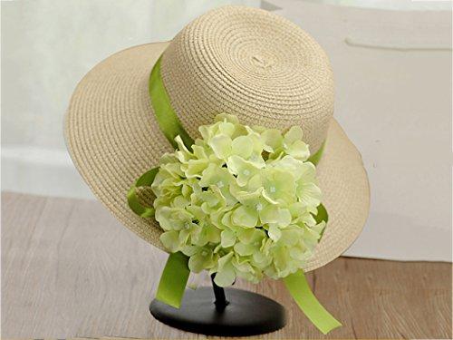 Chapeau de soleil d'été Été féminin Fleur paille chapeau Chapeau de plage Chapeau de soleil de plage Protection solaire extérieure Pour les voyages de plage sortants ( Couleur : 12 ) 7