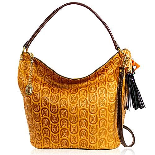 Marino Orlandi Damen Große Handtasche Italienische Designer-Handtasche Aus Echtem Leder Griff Umhängetasche Hobo in Cognac Gesteppte Hufeisen Geprägtes Design mit Quaste -