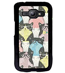 Fuson Premium Cute Cats Metal Printed with Hard Plastic Back Case Cover for Samsung Galaxy J1
