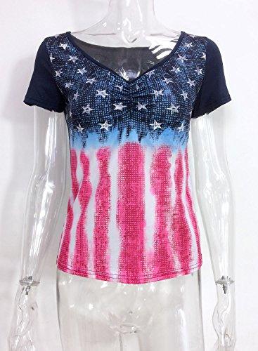 Futurino Damen Sterne und Streifen Posterdrucke V-Ausschnitt Rüsche T-shirt Dunkel Blau
