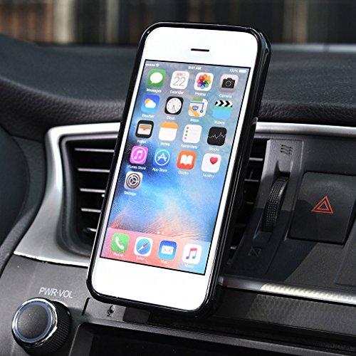 Kroo Étui universel de grille d'aération auto pour smartphone avec support magnétique solide pour Smartphones Apple iPhone se Rose - Rose/noir Bleu - Blue and Black