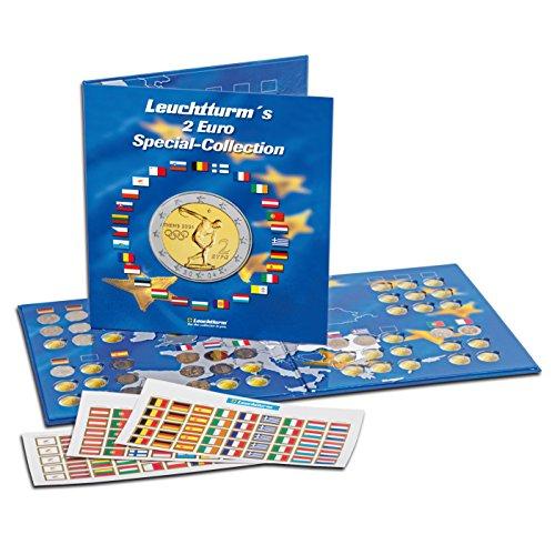 Leuchtturm Münzalbum PRESSO | Sammelalbum für 2-Euro Sammler- und Gedenk-Münzen | Für bis zu 57 Münzen | Inkl. Flaggen-Stickerset