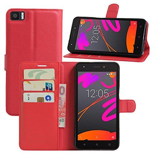 HualuBro BQ Aquaris X5 Hülle, Premium PU Leder Leather Wallet HandyHülle Tasche Schutzhülle Flip Case Cover mit Karten Slot für BQ Aquaris X5 Smartphone - rot, for BQ Aquaris M5.5