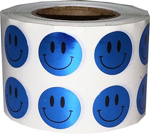 Brillante Azul Smiley Cara Circulo Punto Pegatinas, 13 mm 1/2 Pulgada Redondo, 1000 Etiquetas en un Rollo