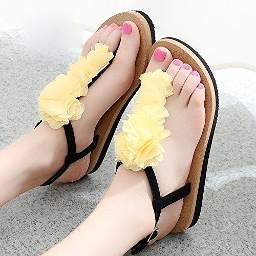 LIXIONG Portable Pente avec sandales Sandales plates glissantes féminines Chaussures étudiantes Chaussures décontractées pendant 18 à 40 ans -Chaussures de mode ( Couleur : 1003 , taille : 36 ) 1003