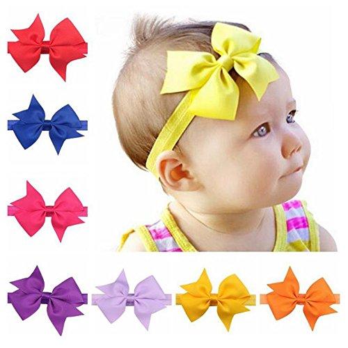 Cute Baby Girl gegabelten Schwanz Stirnband weich elastisch Bowknot Haarband Haar Krawatten für Kleinkinder Geschenk Baby Mädchen Headbands (Rot, Weiß, Blau, Haar-bögen)