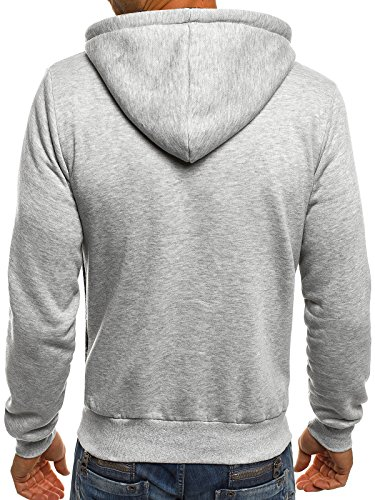 ozonee uomo maglia pullover felpa con cappuccio sportivi J. STYLE AK50 Grigio