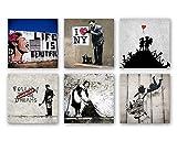 Banksy Bilder Set B, 6-teiliges Bilder-Set jedes Teil 29x29cm, Seidenmatte Optik auf Forex, moderne schwebende Optik, UV-stabil, wasserfest, Kunstdruck für Büro, Wohnzimmer, XXL Deko Bild