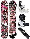 Airtracks Damen Snowboard Set/Stripes Lady Rocker 144 + Snowboard Bindung Master W + Snowboardboots Savage W 38 + Sb Bag