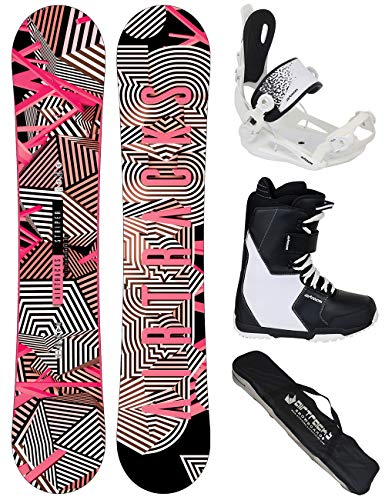Airtracks Damen Snowboard Set/Stripes Lady Rocker 144 + Snowboard Bindung Master W + Snowboardboots Savage W 38 + Sb Bag (Kunststoff Snowboard Mit Bindungen)