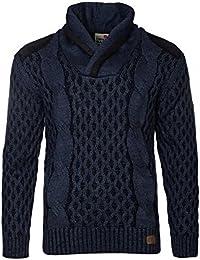 Cipo & Baxx Herren Easygoing Strickpullover Strick- Pullover Sweatshirt Sweater Pulli dunkelblau