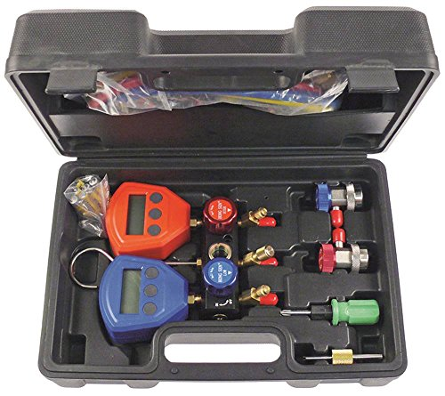 Monteurhilfe Anschluss 1/4' SAE digital psi/bar/MPa/kPa HS-5200A R22/R134a/R404a/R407c/R502/R410a 6 x Batterie 1,5V AAA -