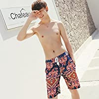 ZZ Pantalones de playa sueltos de cinco puntos de secado rápido para hombres,Flores azules,XXL