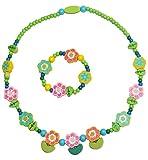 Unbekannt 2 TLG. Set Kette + Armband -  Blumen & Blüten  - für Kinder aus Holz - Schmuck / Holzkette Perlenkette - Mädchen grün / rosa - Kinderkette Mädchenkette - Kleinkinder