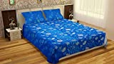 MAFATLAL Cotton Double Bedsheet with 2 Pillow Covers - King, blue