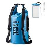 Dry Bag, 20L impermeabile con maniglie per il trasporto e lacci spalla regolabile cinghie Perfetto per Kayak / Vela / escursionismo / campeggio / pesca con il caso del telefono impermeabile(blu)