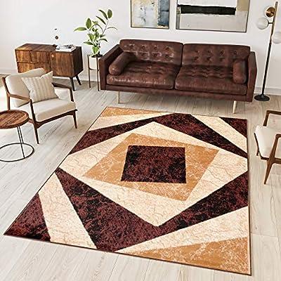 TAPISO Dream Tappeto Soggiorno Salotto Moderno Beige Verde Geometrico Quadrato A Pelo Corto 80 x 150 cm
