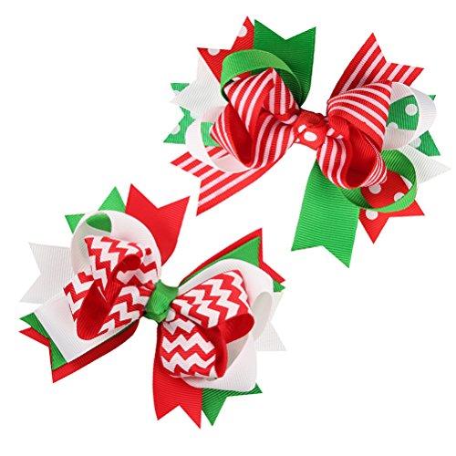 BESTOYARD Weihnachten Grosgrain Bogen Clips Baby Bogen haarspangen haarspangen Haarschmuck für Babys 2 stücke