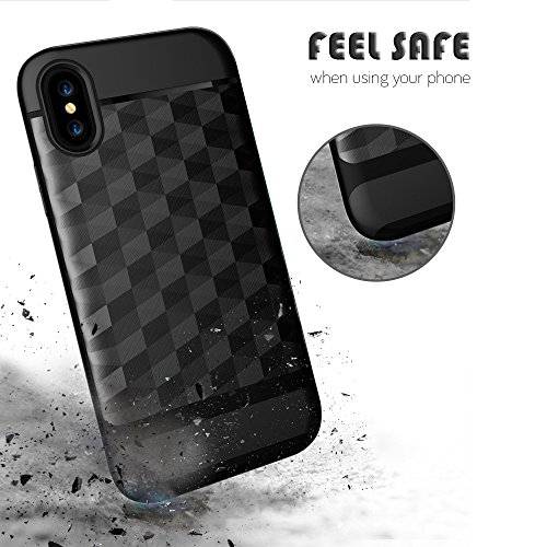 Handy Case für Apple iPhone X 10 - 5.8 Zoll | SCHWARZ Hybrid Cover TPU Kunststoff Plastik GEMUSTERT Hart Handy Cover Tasche Schale Schutz Hülle Night Black