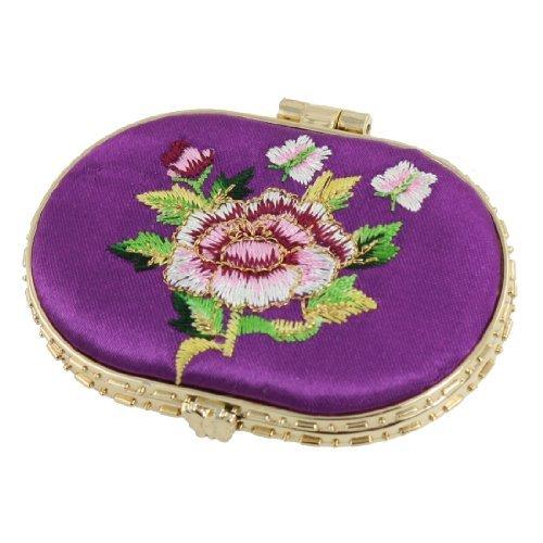 Sourcingmap-Viola Ricamato Fiore accento forma ovale imbottita cosmetici specchio