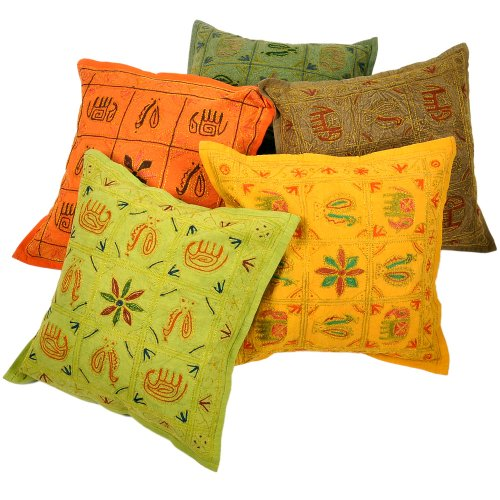 Little India Kantha Embroidery Thread Work Cotton 5 Piece Cushion Cover Set - Multicolor  (DLI3CUS448)