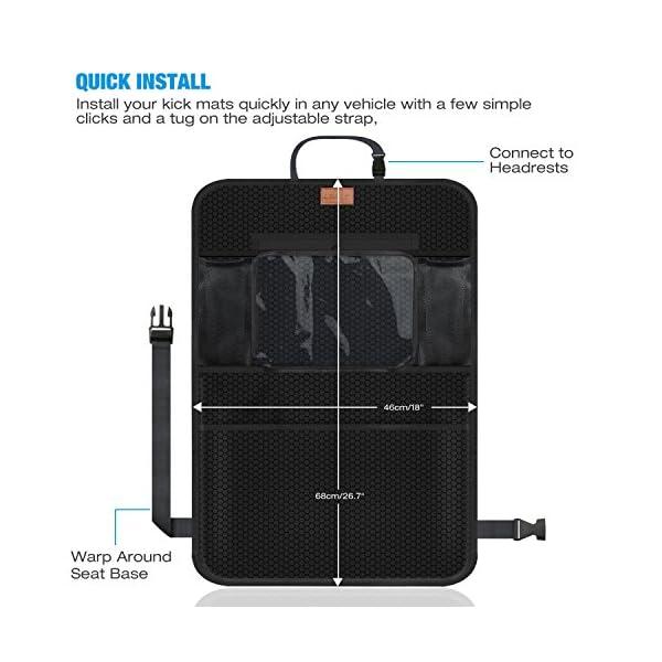 AEMIAO Organisateurs de Voiture Kick Mats 2 Pack Organisateur Siege Arriere Voiture Multi-Poches Rangement pour Voiture Imperm/éable avec Transparent PVC iPad Holder pour enfants et accessoires