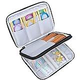 Luxja Stricknadeln Tasche (bis zu 8 Zoll), Organizer Tasche für Rundstricknadeln, 8 Zoll Stricknadeln und anderes Zubehör für Zuhause und Reisen (Keine Zubehör enthalten), Schwarz