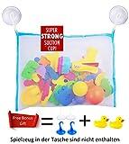 Baby Badespielzeug Aufbewahrung, hochwertiger Badewannenspielzeug Organizer mit 2x Badeenten und 4 Saugnäpfen (Blau)
