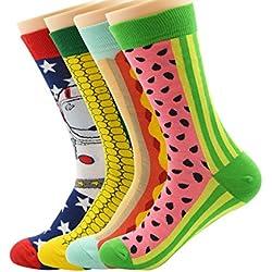 Zando vestido lindo Mix mezcla de dibujos animados divertido diseñado tripulación calcetines de algodón de las mujeres 4 Pairs Talla única: 17,78-27,94 cm(Tamaño del zapato: 38-42)