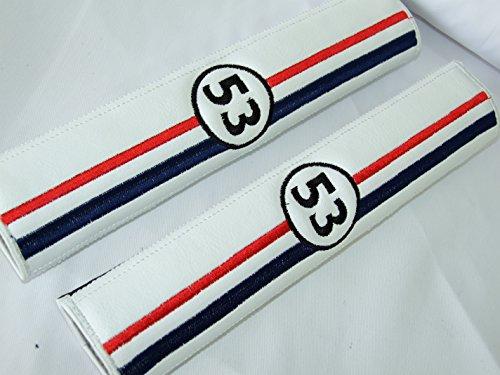 Herbie 53 Racing Style weiß Leder (Kunstleder) Sicherheitsgurt Schulterpolster