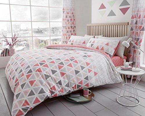 Geo Tröster Set (Bettbezug, bedruckt Set Weich & extrem strapazierfähig Beste Qualität   Geomatric Design   Geo Dreieck pink   von Coton Modus, Doppelbett)