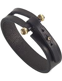 Noritamy Bracelet Acier Inoxydable Ronde Diamant Noir Unisexe