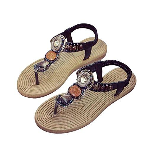 Damen Sommer Sandalen,Kaiki Böhmische Frauen Edelstein Hausschuhe Sommer Strand Sandalen Flip Flops flache Schuhe Black