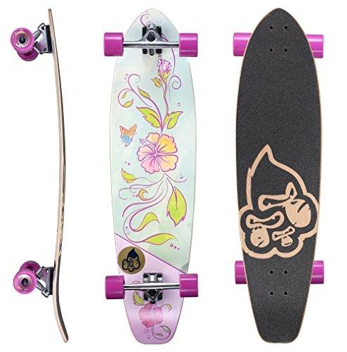 BIKESTAR Premium Canadian Maple Top Mount Komplett Pro Longboard Skateboard für Kinder und Erwachsene auch Anfänger ab ca. 8-10 Jahre ★ 65mm Flex Carving/Cruiser Edition ★ Hibiscus Design