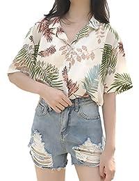Camisas Mujer Elegante Verano Chiffon Manga Corta Camiseta Impresión Ropa  Dama Moderno Floral Anchas Casual Moda Playa… fa68ab8b7832