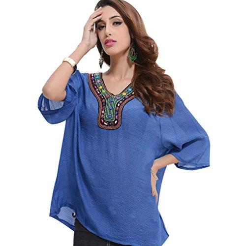 WanYang Donna Floral Blusa Maglietta Manica 3/4 Lunga T Shirt Camicetta Blusa Camicia Casual Elegante T-shirt per Donna Marina Militare