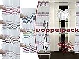 Doppelpack zum Sparpreis - Ösenschal Multi von deko trends - Markenqualität made in Germany - erhältlich in 7 modernen Farbkombinationen - Jacquard in weich fließender Qualität, beige-rot-silber