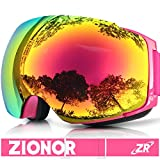 Skibrille, ZIONOR Lagopus X4 Ski Snowboard brillen mit Magnet Schnell Lens-Wechselsystem Sphärische Wide View Anti-Fog UV400 Skibrille für Erwachsene und Teenager