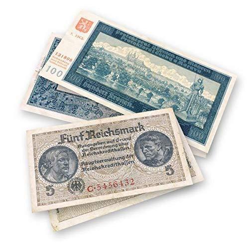2 billetes originales partícipes de las invasiones nazis.El primer billete de 5 marcos fue emitido entre 1939 y 1945 para ser utilizado por los militares nazis en los territorios ocupados por Hitler.En marzo de 1939, los alemanes crearon el protector...