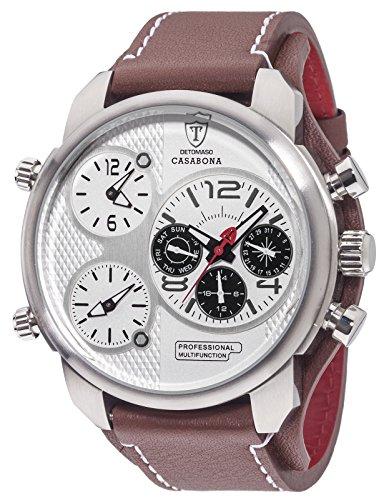 DETOMASO Herren-Multifunktionsuhr Casabona XXL mit 3 Zeitzonen,  silbernem Edelstahl-Gehäuse und braunem breitem Unterleg-Armband. Sehr große sportliche und wasserdichte Quarz Herren-Uhr