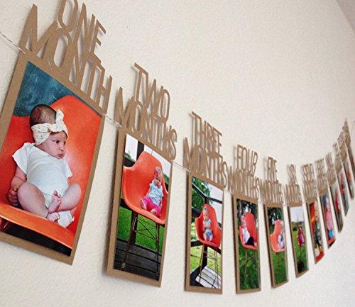 Istloho 1 Jahr Baby Geburtstag Bilderrahmen Postkarten Foto Bilder Bunting Banner Girlande Geschenk Dekoration zum Erstes Jahr Geburtstag Babyparty Taufe Babyshower (Ersten Geburtstag Dekoration)